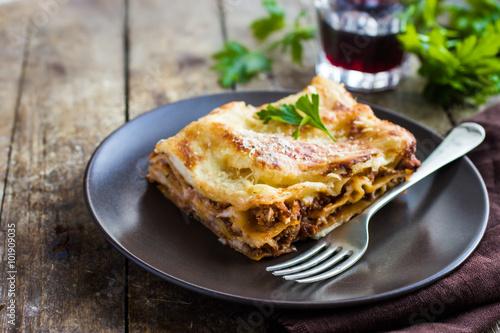Cadres-photo bureau Plat cuisine traditional italian lasagna with minced beef bolognese sauce