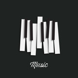 Jazz music festival, poster background template. Music piano keyboard. Can be used as poster element or icon. Vector illustration.