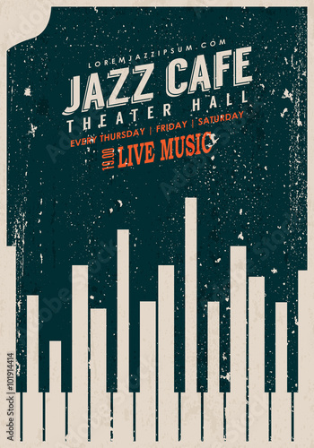 Photo  Vector Vintage Jazz music poster template
