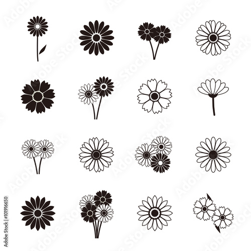 Fototapeta Gerbera icons, vector illustration