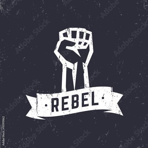 Obraz na plátně Rebel, grunge t-shirt design, print, fist held high in protest, white over dark,