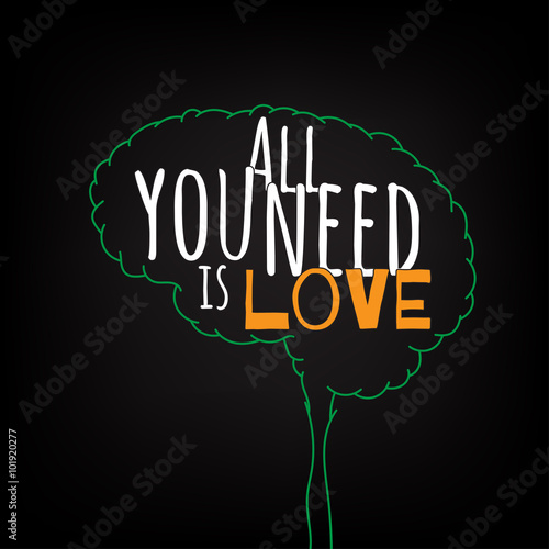 all you need is love motivation clever ideas in the brain poster text lettering of