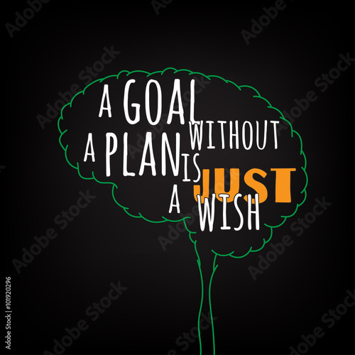 A Goal Without Plan Is Just Wish Motivation Clever Ideas In The Brain Poster Text Lettering Of An Inspirational Saying