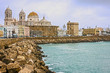 Cadiz, Spain. Seafront and old Cathedral