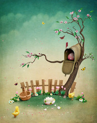 Beautiful spring illustration with mailbox for greeting card or background Easter