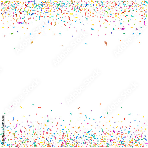 Obraz Abstract colorful confetti background. Isolated on white. Vector holiday illustration. - fototapety do salonu