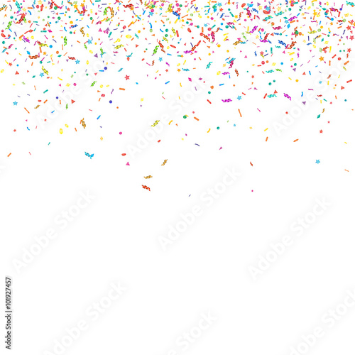 Fototapeta Abstract colorful confetti background. Isolated on white. Vector holiday illustration. obraz na płótnie