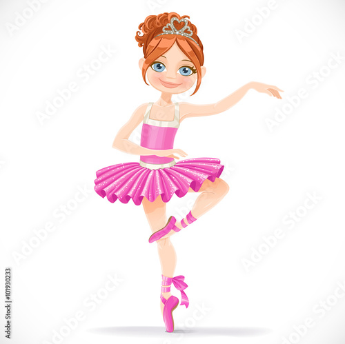 Photo  Cute brunette ballerina girl dancing in pink dress isolated on a