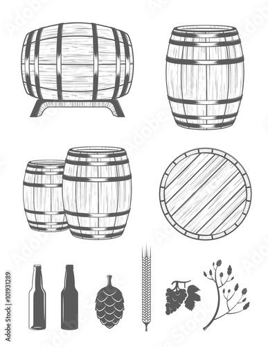Photo Vector Set Barrels and Design Elements