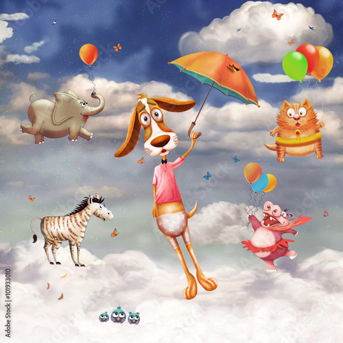 ilustracja-latajacych-zwierzatek-w-niebie