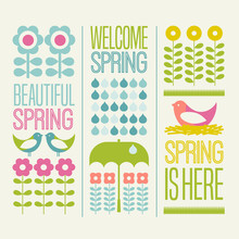 Spring Seasonal Design Elements Flowers Birds And Typography