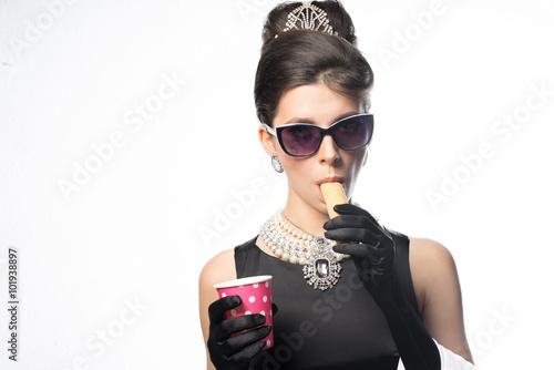 Retro - a girl having breakfast cookies with lemonade Canvas Print