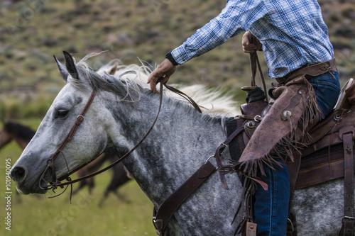 A man in a plaid shirt and wearing chaps riding a dappled horse on a ranch in Wyoming