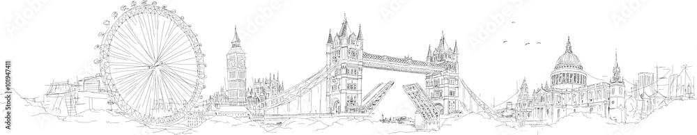 Fototapeta vector sketch hand drawing panoramic london silhouette