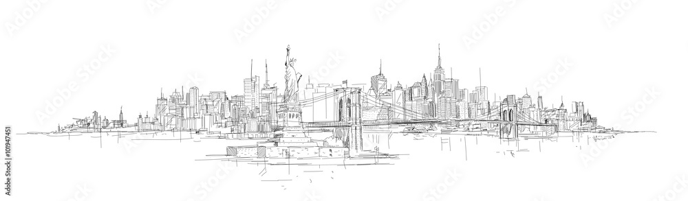 Fototapeta vector sketch hand drawing panoramic new york city silhouette