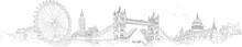 Vector Sketch Hand Drawing Panoramic London Silhouette