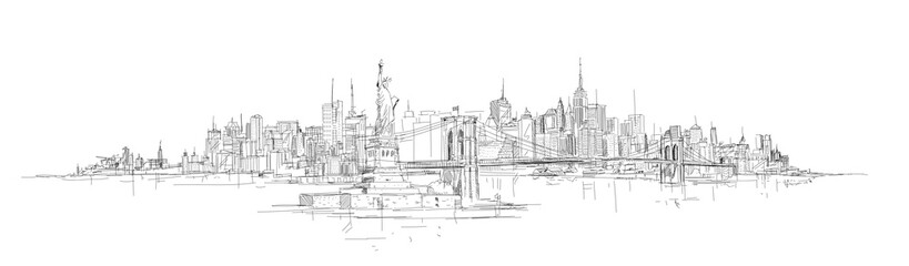 Fototapeta vector sketch hand drawing panoramic new york city silhouette
