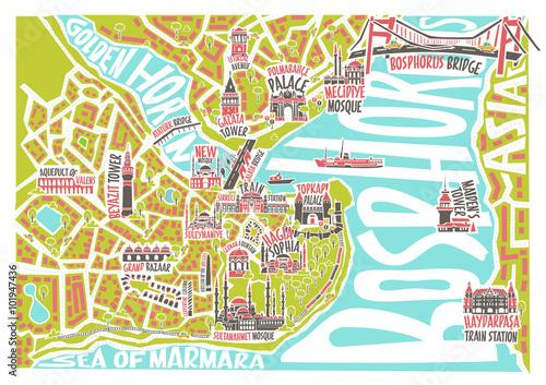 Obraz na plátně Vector illustration colored istanbul map with famous landmarks