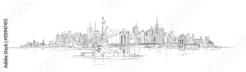 vector sketch hand drawing panoramic new york city silhouette - 101947451