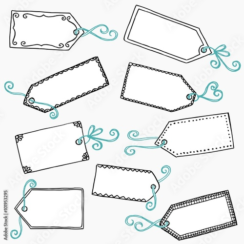 hand drawn cute gift labels or price tags with blue bow buy this