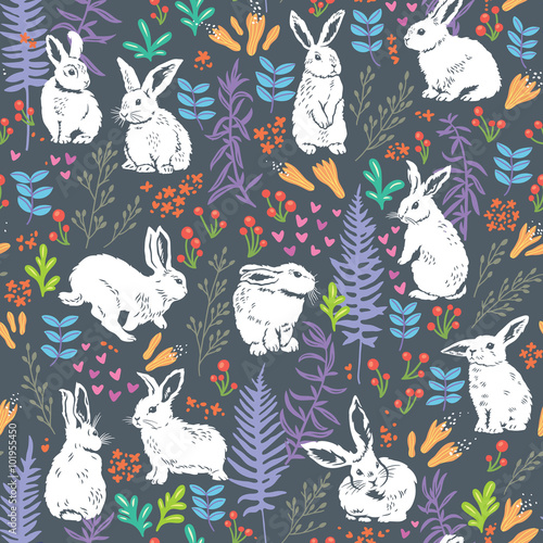 Cotton fabric Floral pattern with white bunnies