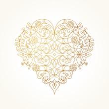 Ornate Vector Heart. Valentine...