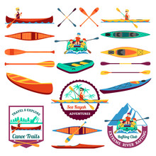 Rafting Canoeing And Kayak Elements Set