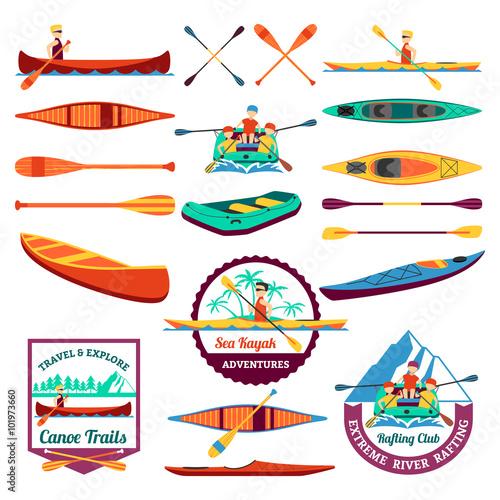 Fényképezés Rafting Canoeing And Kayak Elements Set