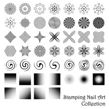 Stamping Nail Art Elements Or Scrapbooking Designs. Vector Collection.