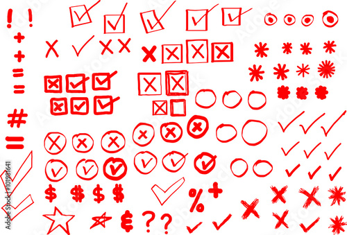 Hand-drawn asterisks, radio buttons, checkmarks, x's, bullets, circles, currency Canvas Print