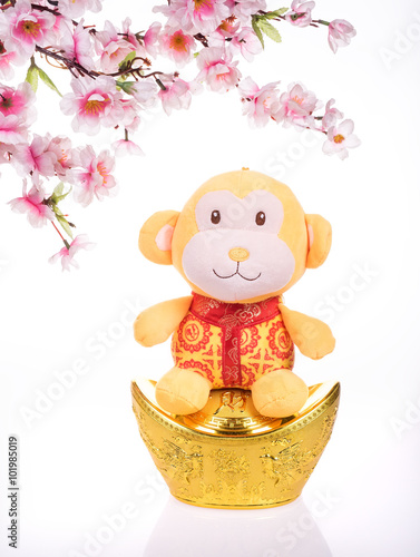Canvas Prints Bears Chinese lunar new year ornaments toy of monkey on festive backgr