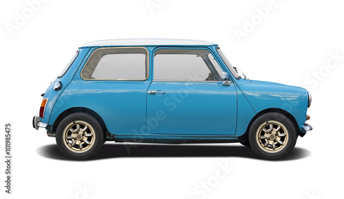 Classic British mini car isolated on white