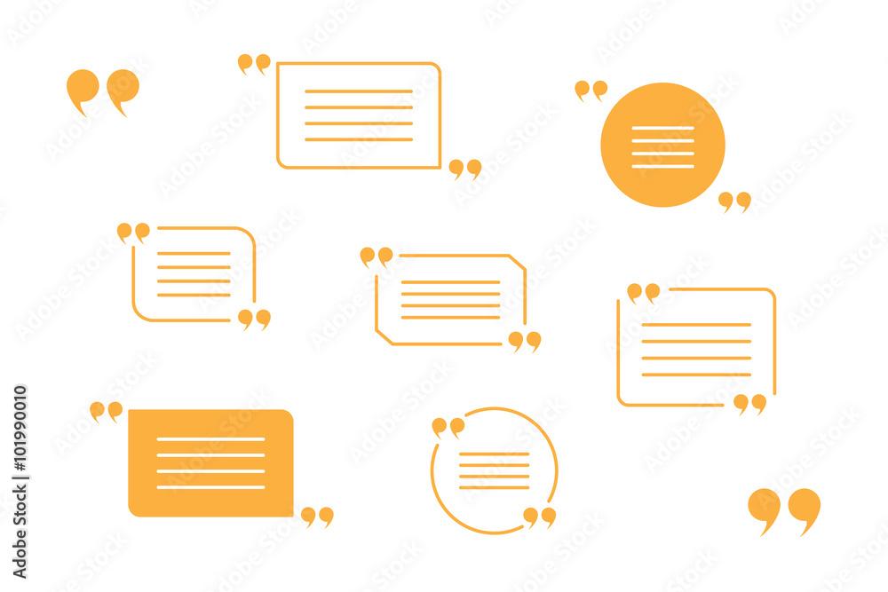 Fototapety, obrazy: vector set of orange quotation marks isolated on white