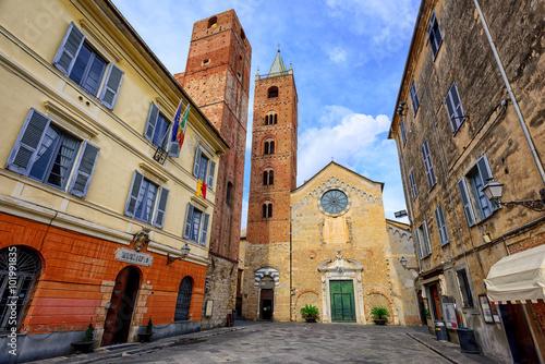 Medieval historical town Albenga, Liguria, Italy Canvas Print