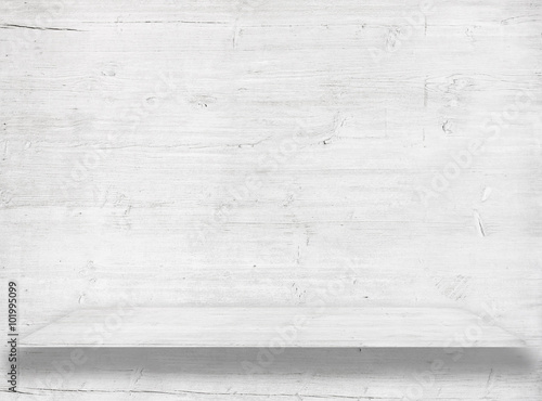 Türaufkleber Holz White wood wall with wooden shelf or table surface