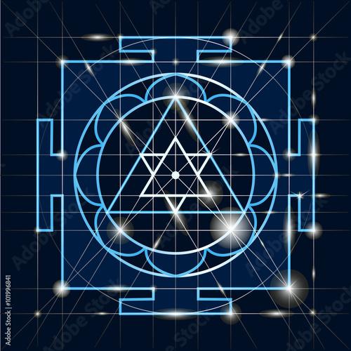 Canvastavla  Sree  Ganapati Yantra. Sacred Geometry
