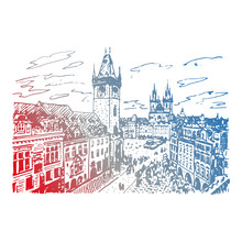 View Of The Old Town Hall And Square In Prague, Czech Republic. Vector Hand Drawn Sketch.