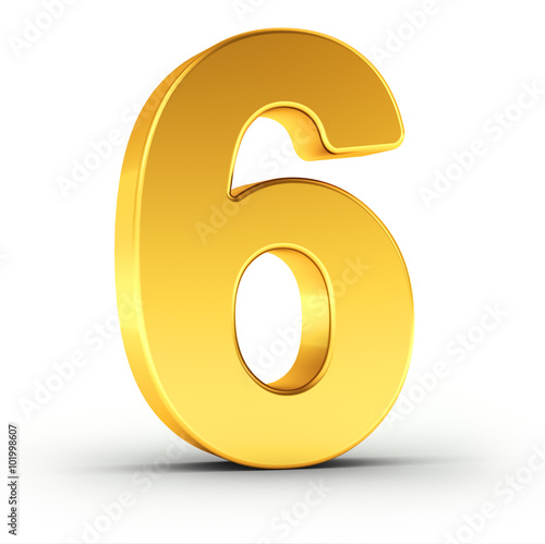 Obraz The number six as a polished golden object with clipping path - fototapety do salonu