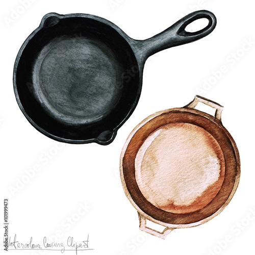 Montage in der Fensternische Aquarell Abbildungen Watercolor Cooking Clipart - Pots and Pans
