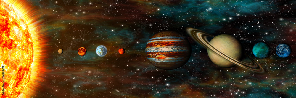 Fototapety, obrazy: Solar System, planets in a row, ultrawide