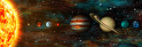 Fototapeta Space - Solar System, planets in a row, ultrawide