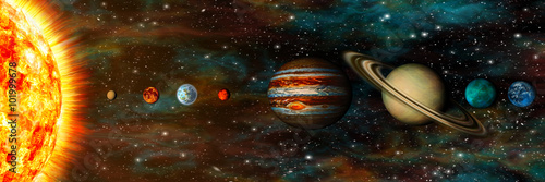 Solar System, planets in a row, ultrawide Wallpaper Mural