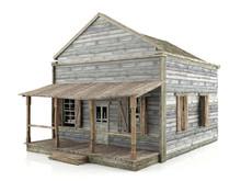 Abandoned Wooden House Isolated On White Background