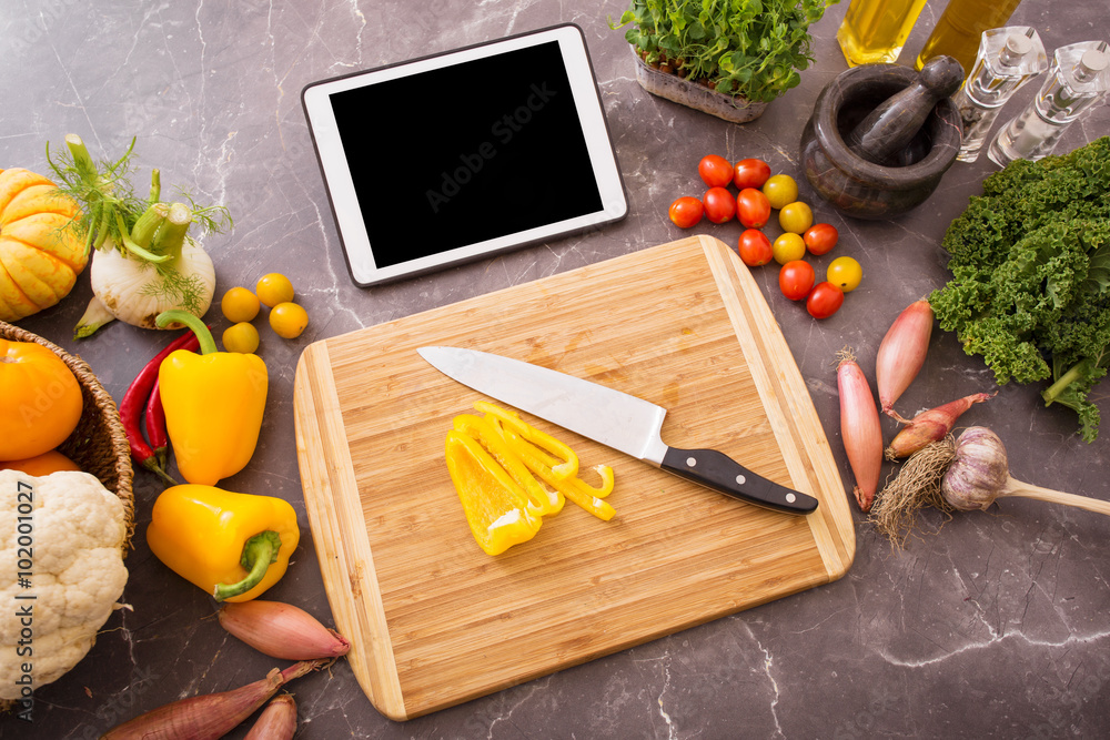 Fototapety, obrazy: Tablet in kitchen for food recipe