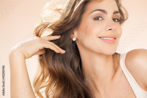 Beautiful Woman With Long Hair Poster