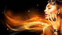 Burning Woman Head Profile. Be...