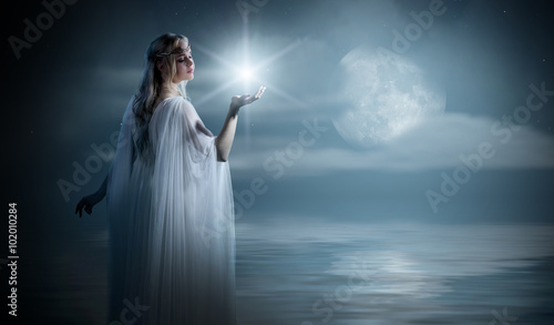 Fotografie, Tablou  Young elven girl with star on sea coast