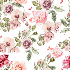 FototapetaSeamless pattern with orchid flowers, roses, peony and leaves.