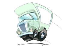 Tecknad Flyttbuss I Full Fart
