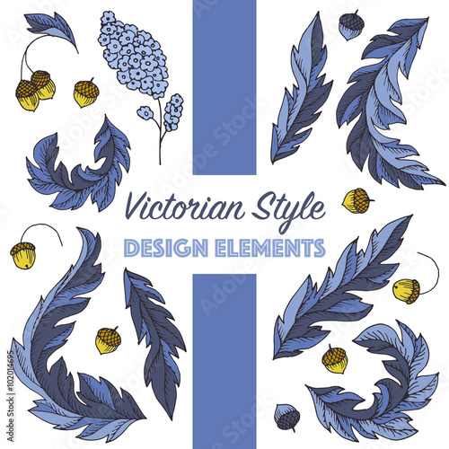 Fotografie, Obraz  Vector collection of victorian style vintage elements with oak leaves and acorns